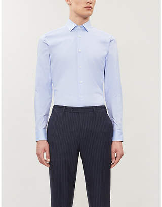 Corneliani Pin-dot slim-fit cotton shirt