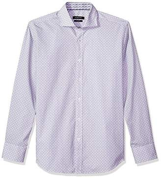 Bugatchi Men's Tappered Fit Long Sleeve Patterned Spread Collar Shirt