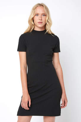 Black Swan Ingrid Short Sleeve Ribbed Open Back Bodycon Dress