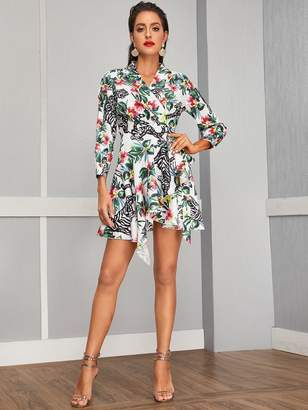 Shein Floral & Tiger Print Shawl Collar Wrap Knot Dress