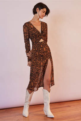 Finders Keepers LANA DRESS tan snake