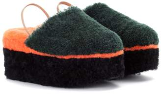 Shearling platform slippers