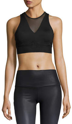 Alo Yoga Jubilee Mesh-Inset Sports Bra, Black $60 thestylecure.com