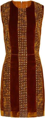 J. Mendel Sleeveless Embroidered Velvet Mini Dress
