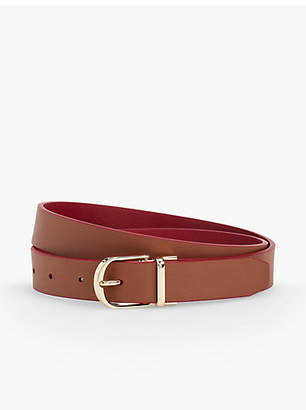 Talbots Plus Size Reversible Leather Tab Belt