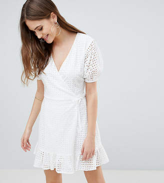 Fashion Union Tall Wrap Dress In Broderie