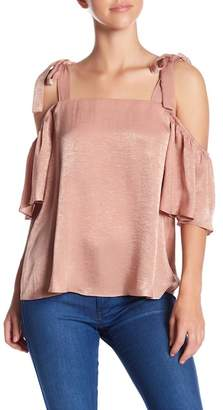 Soprano Cold Shoulder Satin Blouse