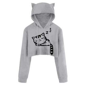 c7466e087a31b Theshy-women blouse Theshy Women Sexy Casual Long Sleeve Cat Kitty Print  Short Hoodies Top
