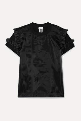 Noir Kei Ninomiya Ruffled Cotton-jersey And Organza T-shirt - Black