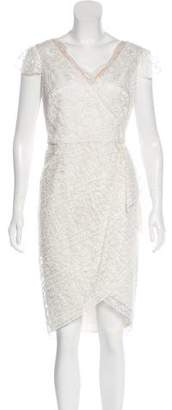 Marchesa Lace Cap Sleeve Midi Dress