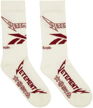 Vetements White and Red Reebok Edition Metal Socks