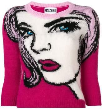 Moschino face pattern sweater