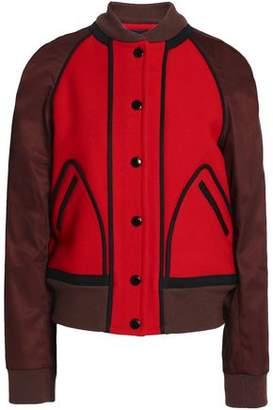Coach Two-Tone Twill-Paneled Wool-Felt Bomber Jacket