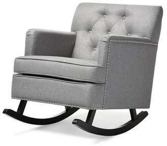 Baxton Studio Bethany Modern and Contemporary Fabric Upholstered Button - Tufted Rocking Chair - Gray