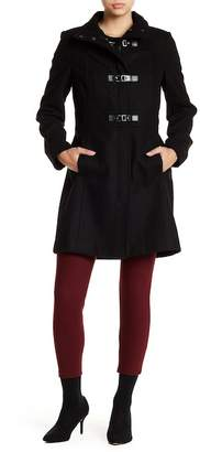 Kenneth Cole New York Wool Blend Peacoat With Stand Up Collar