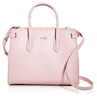Furla Pin Small East/West Embossed Leather Satchel