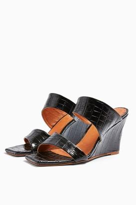 Topshop Womens Rellik Wedge Mules - Black