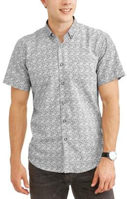 Generic Big Men's Geometric Printed Microfiber Short Sleeve Button-Up Shirt