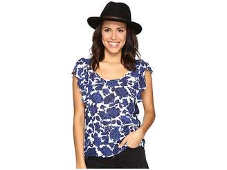 Lucky Brand Floral Flutter Top Women's Clothing
