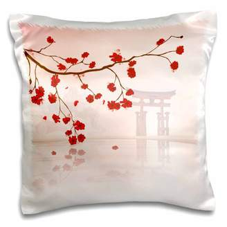 3dRose Beautiful Japanese Sakura Red Cherry Blossoms Branching Reflecting Over Water - Pillow Case, 16 by 16-inch