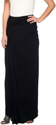 Halston H By H by Regular Knit Maxi Skirt with Side Knot Detail