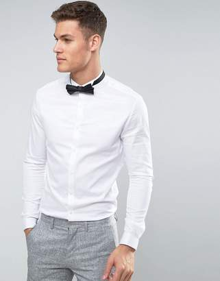 Asos Skinny Fit Sateen Shirt With Double Cuff And Wing Collar