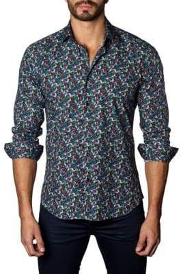 Jared Lang Leaves-Print Trim-Fit Button-Down Shirt