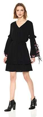 Ella Moon Women's Kora Emboidered Bow Tie Up Sleeve A-Line V-Neck Midi Dress