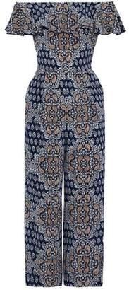 L'Agence Off-the-shoulder Ruffled Floral-print Silk Crepe De Chine Jumpsuit