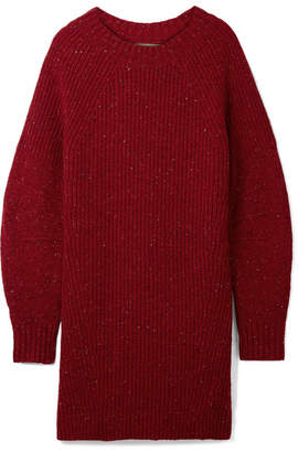 Burberry Oversized Ribbed Wool, Cashmere And Mohair-blend Sweater - Claret