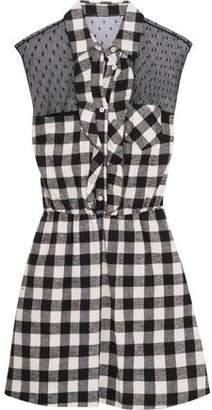 RED Valentino Ruffled Swiss-Dot Tulle-Paneled Checked Cotton Mini Dress