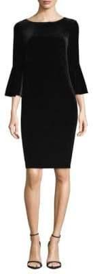 Calvin Klein Bell-Sleeve Velvet Sheath Dress