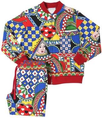 Dolce & Gabbana Queen Of Hearts Print Cotton Sweat Suit