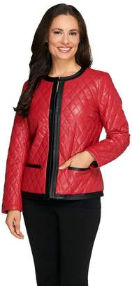 Joan Rivers Classics Collection Joan Rivers Quilted Faux Leather Jacket