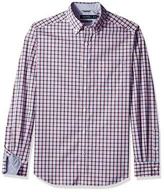 Nautica Men's Stretch Long Sleeve Check Plaid Button Down Shirt