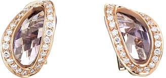Superoro 18K 10.42 Ct. Tw. Diamond & Amethyst Drop Earrings