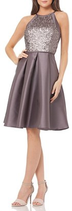 Women's Carmen Marc Valvo Infusion Sequin Satin Fit & Flare Dress $298 thestylecure.com