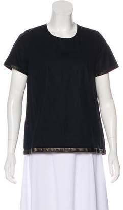 Ter Et Bantine Leather-Trimmed Short Sleeve Top