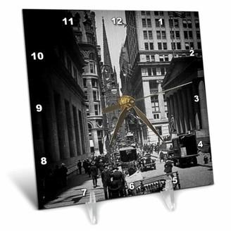 Church's 3dRose Sub Treasury Old Trinity Wall Street New York City Glass Slide, Desk Clock, 6 by 6-inch