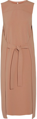 Theory - Quinlynn Tie-front Stretch-crepe Dress - Blush $395 thestylecure.com