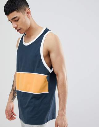 Asos DESIGN oversized tank with color block in polytricot