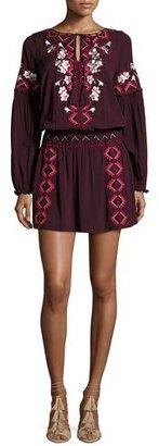 Parker Maeve Embroidered Blouson Dress, Plumwine $288 thestylecure.com