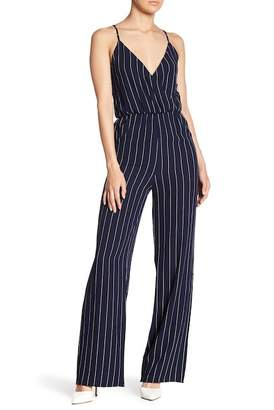 Blvd Surplice Neck Pinstripe Jumpsuit