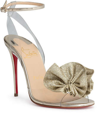 Christian Louboutin Fossiliza 100 transparent PVC gold glitter sandals