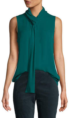 Theory Draped Tie-Neck Sleeveless Classic Silk Georgette Shell