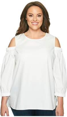 Calvin Klein Plus Plus Size 3/4 Sleeve Cold Shoulder Top Women's Blouse