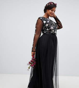 Maya Plus floral embellished long sleeve maxi dress in black