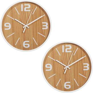Amalfi by Rangoni Frankie Wall Clock, White, 30cm (Set of 2)