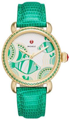 Michele Seaside Topaz Fish Dial Watch Head with Diamonds, Emerald