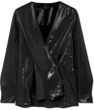 Rag & Bone Debbie Coated Crepe De Chine Blouse - Black